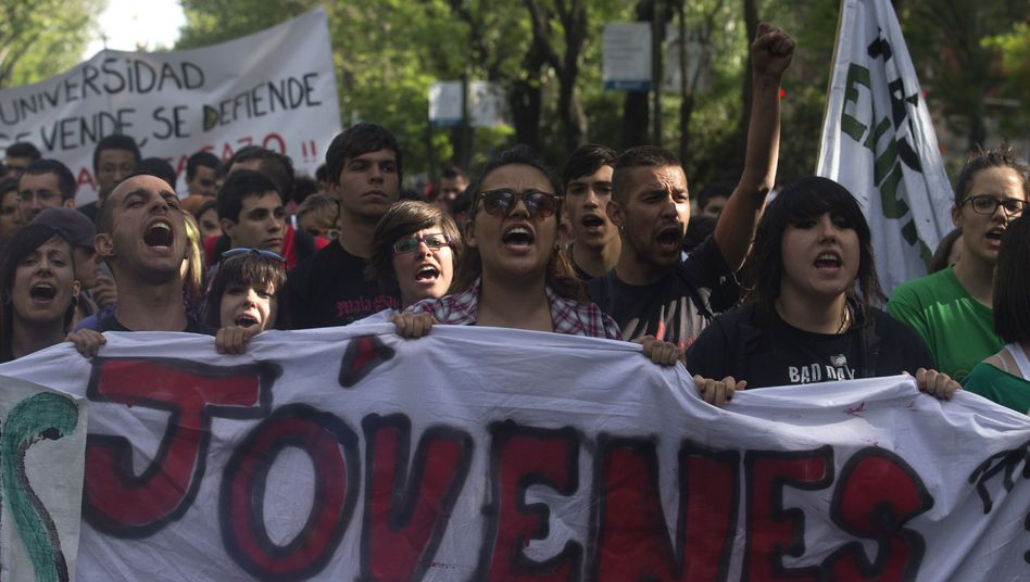 Students in Madrid protest government austerity measures in early May.
