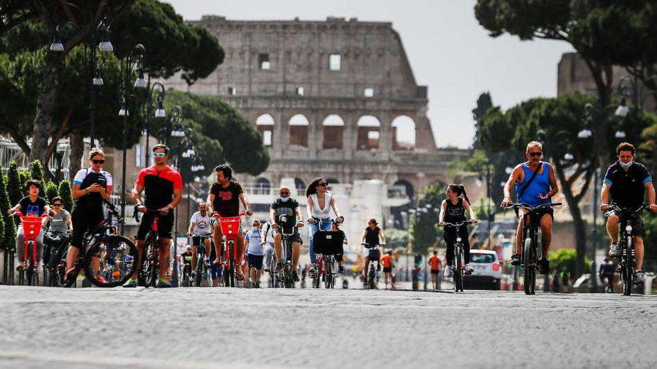 Radfahrer in Rom