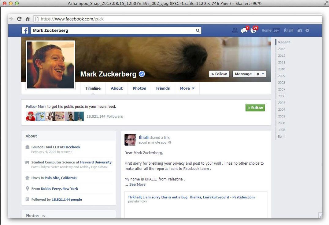 NUR ALS ZITAT Screenshot Facebook-Fehler