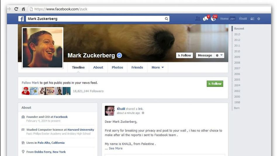 """Mark Zuckerbergs Facebook-Konto: """"Mein Name ist Khalil, ich komme aus Palästina."""""""
