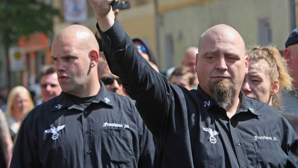 Supporters of the right-wing extremist party NPD at a May Day demonstration in Berlin in 2009.