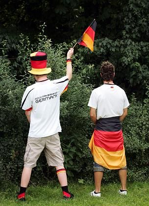 The urination bag would have come in handy for these German fans during the 2006 World Cup in Germany.