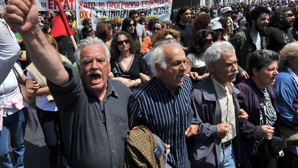 """Gewerkschaftsdemonstration in Athen: """"Das bedeutet Krieg"""""""