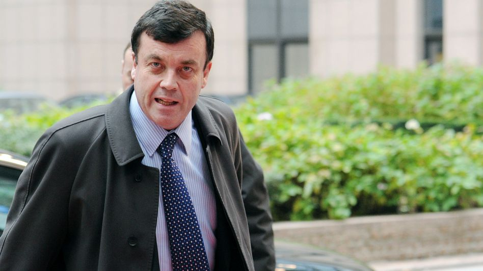Irish Finance Minister Brian Lenihan arrives for a meeting of European finance ministers in Brussels on Wednesday.