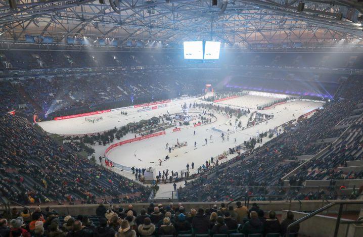 Die Gelsenkirchener Arena während des Biathlon-Events