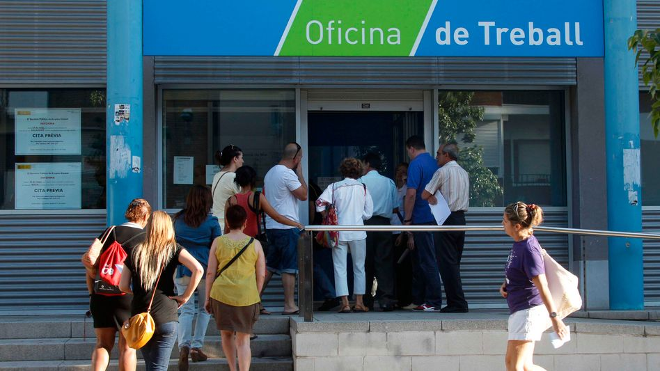 An employment office near Barcelona. Spanish youth unemployment exceeds 50 percent.