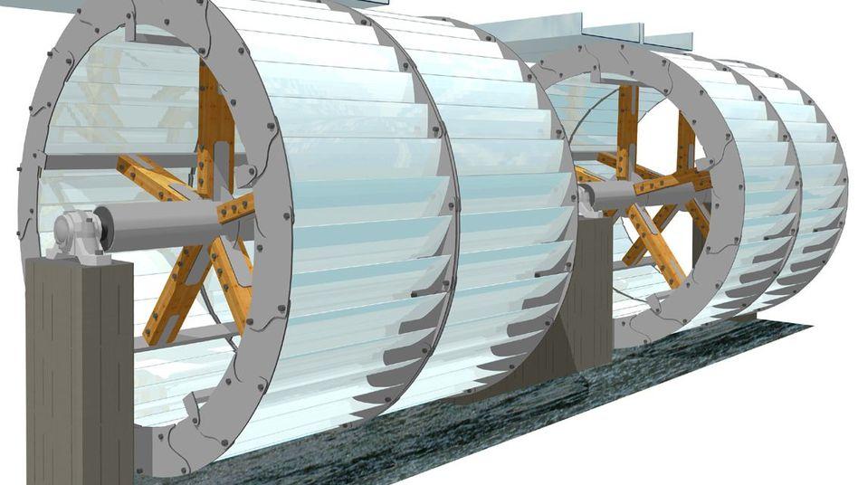 Illustration des Wasserrads der Zukunft: elektrische statt mechanische Energie