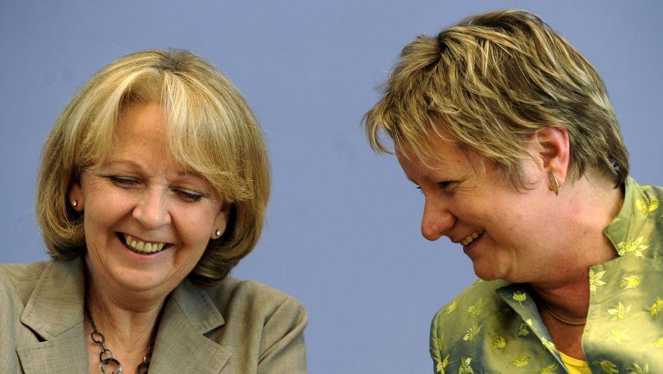 Kraft (l.) und Löhrmann: Koalitionsvertrag vor dem Abschluss