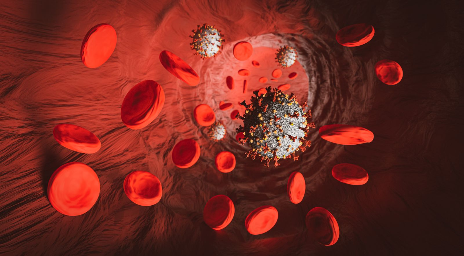 Coronavirus in a vein with blood cells