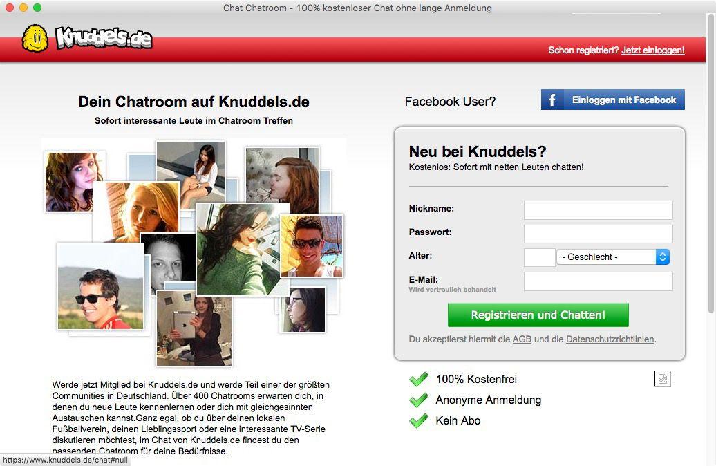 NUR ALS ZITAT Screenshot Knuddels.de