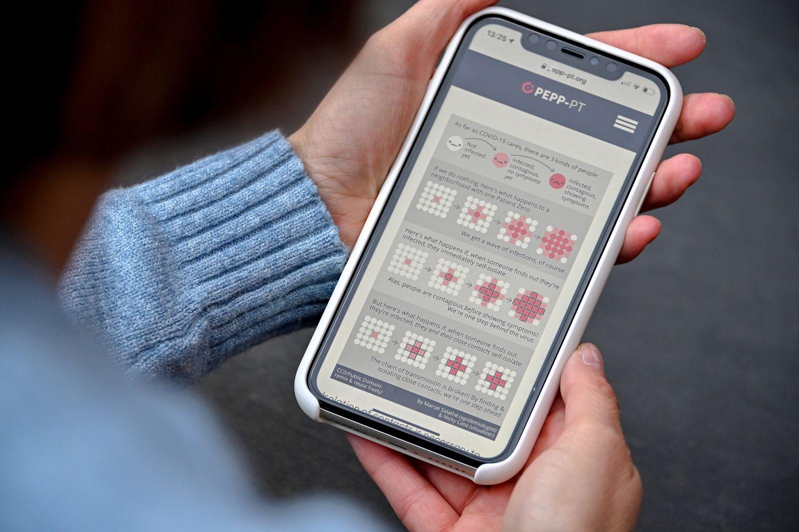European Pepp-PT coronavirus app, Cologne, Germany - 17 Apr 2020
