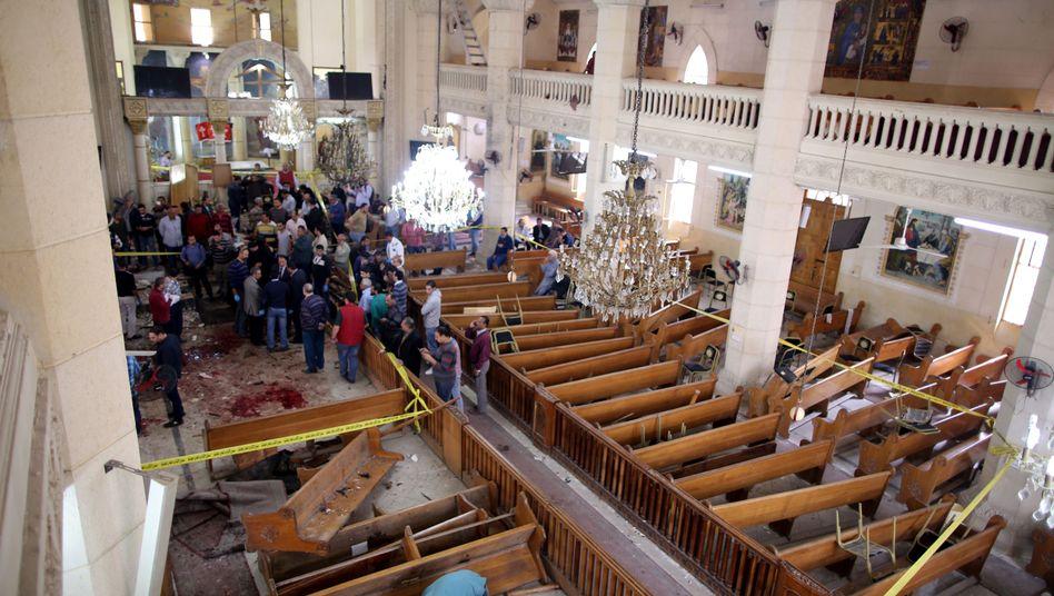 Von Anschlag getroffene Kirche in Tanta
