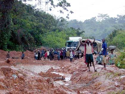 Road construction in Congo