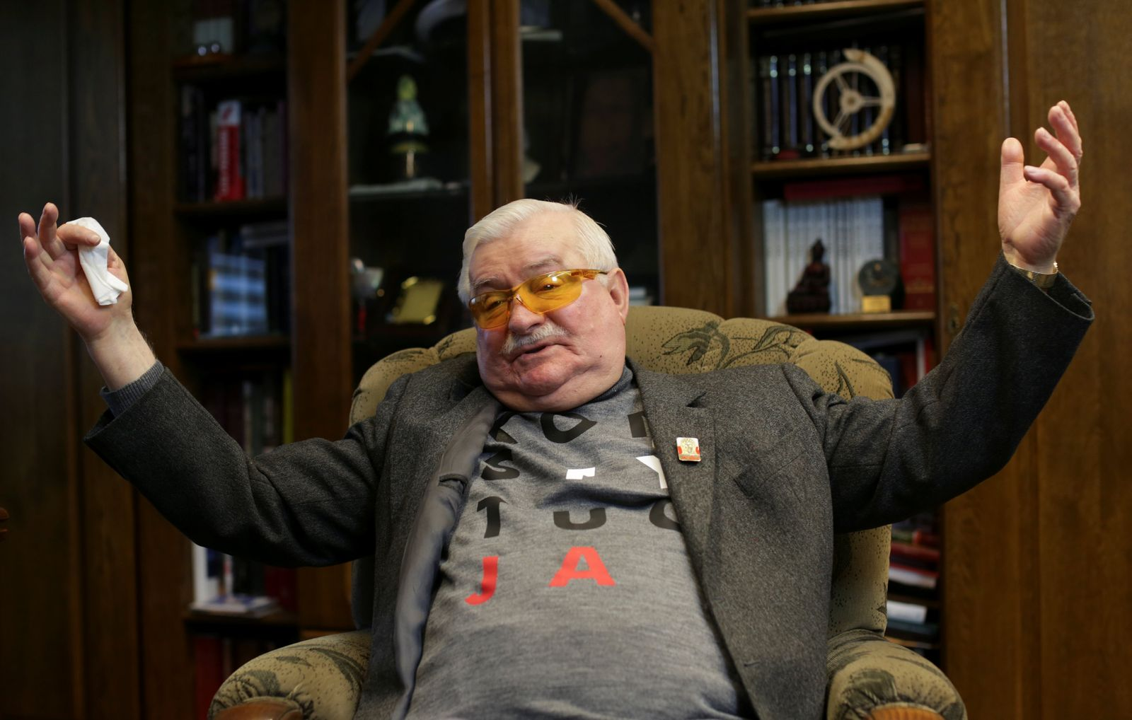 Former Polish President Lech Walesa gestures during an interview with Reuters in Gdansk