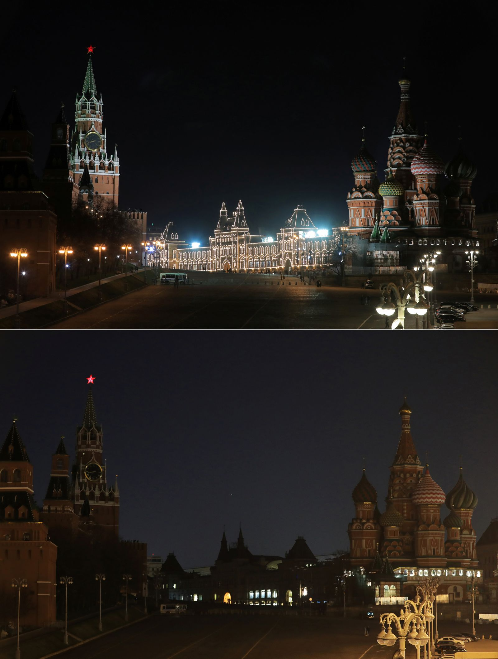 A combination photo shows the Kremlin, GUM department store and the St. Basil's Cathedral before (top) and during Earth Hour in Moscow