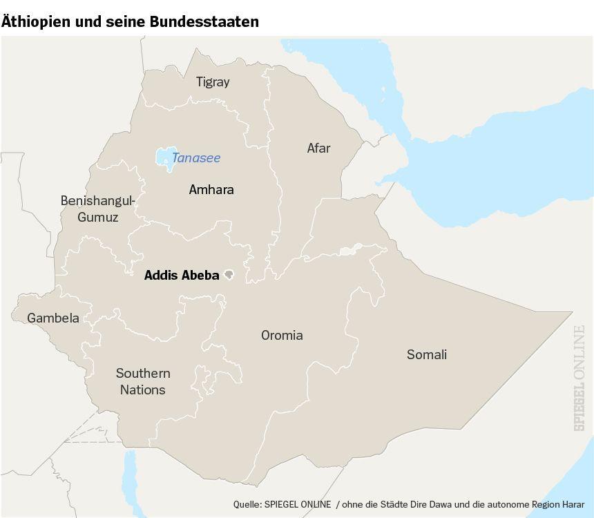 Karte Äthiopien und Bundesstaaten