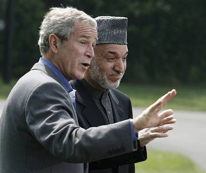 U.S. President George W. Bush Afghanistan President Hamid Karzai at Camp David: Is Bush still even a conservative?
