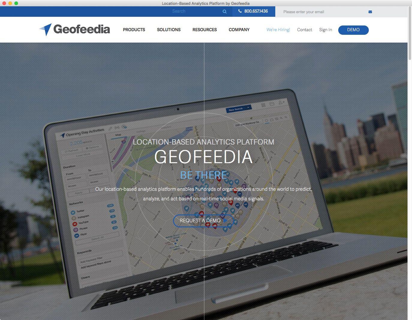 NUR ALS ZITAT Screenshot Geofeedia Website