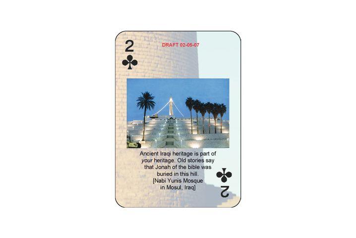 Poker-Spielkarte mit irakischer Kulturstätte: Soldaten lernen spielend