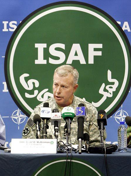 General David McKiernan, commander of the NATO- led International Security Assistance Force (ISAF).