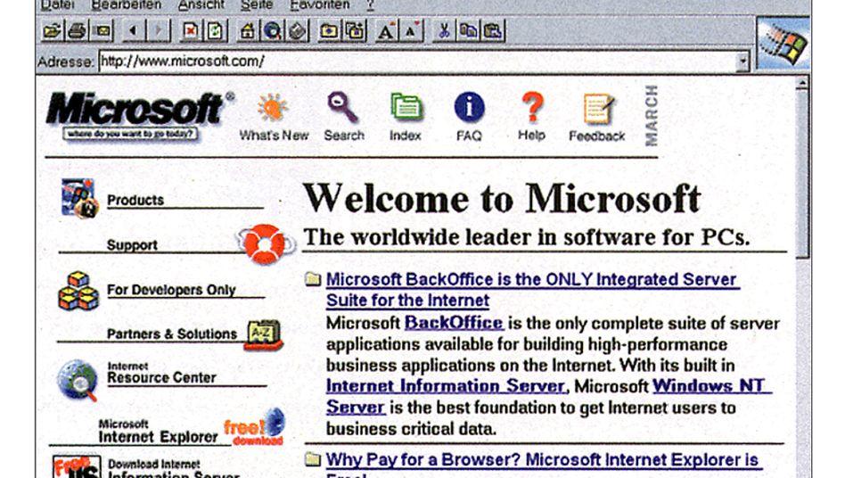 So sah das Internet tatsächlich mal aus: Der Internet Explorer zeigt die Microsoft-Website aus dem Jahr 1996