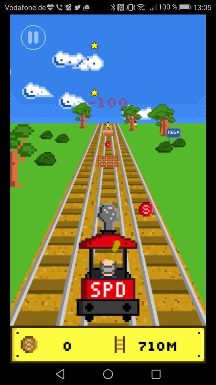 Im Spiel muss man Hindernissen ausweichen: in der Browserversion durch Mausbewegungen, auf dem Handy durch Wischen übers Display