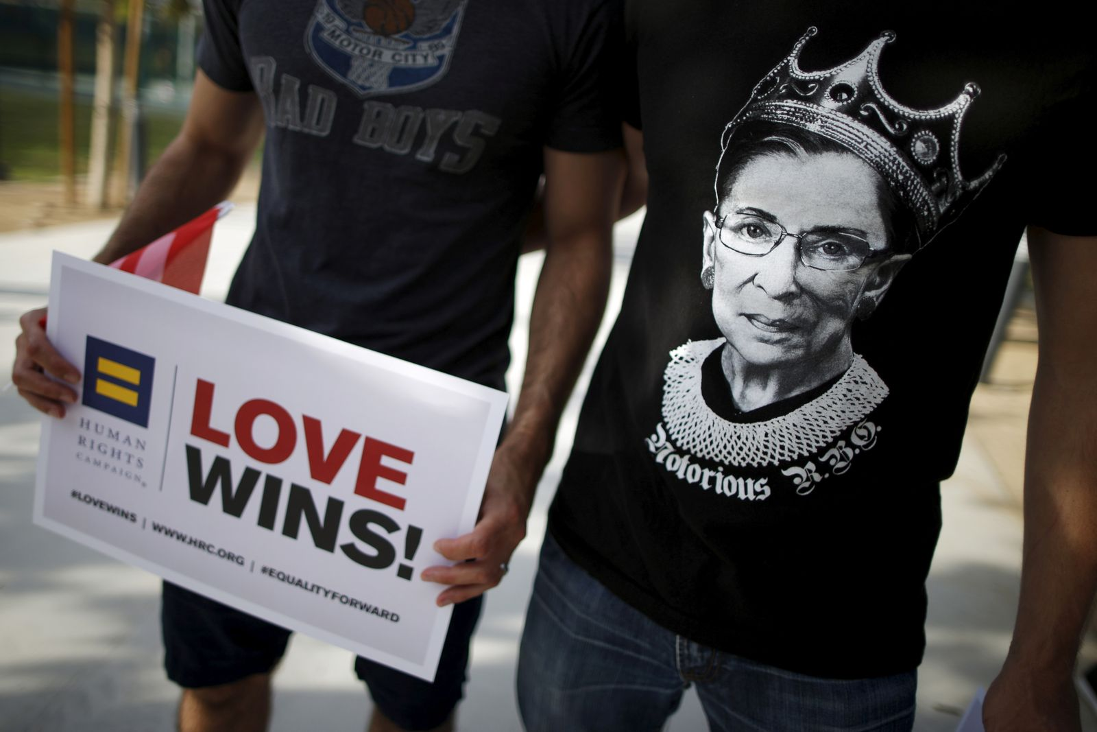 """FILE PHOTO: A man wears a t-shirt showing U.S. Supreme Court Justice Ruth Bader Ginsburg as """"Notorious R.B.G."""" at a celebration rally in West Hollywood"""