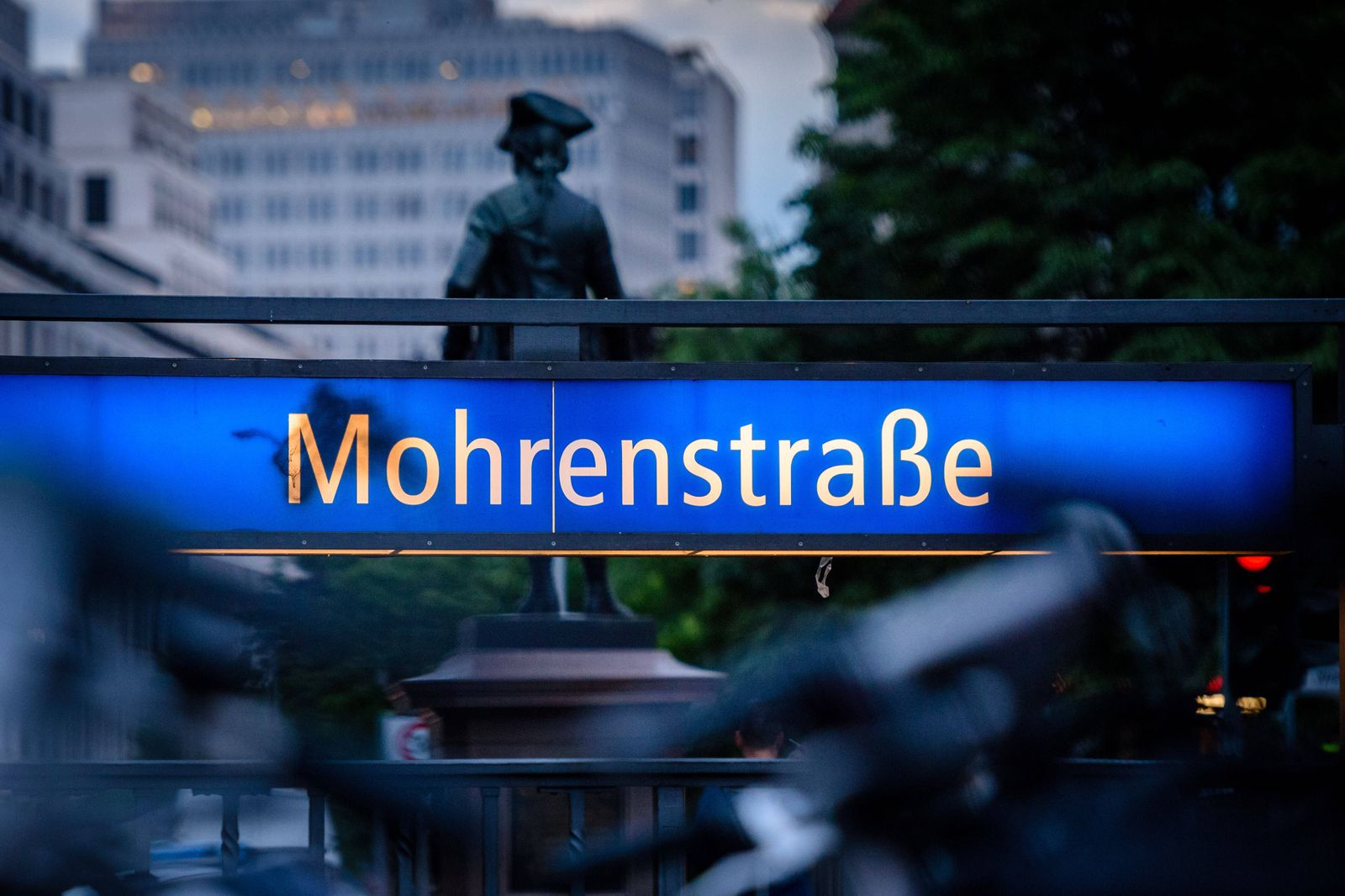 July 14, 2020, Berlin, Berlin, Germany: The entrance of the underground station Mohrenstrasse can be seen in front of a