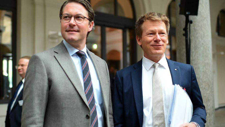 Bundesverkehrsminister Andreas Scheuer (l.), Bahn-Chef Richard Lutz
