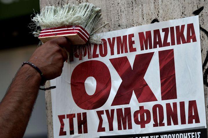 Syriza-Poster: Am Sonntag für Nein stimmen - so die Botschaft