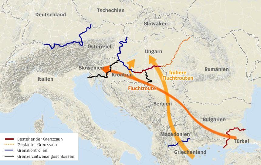 Karte Grenzen Europa Balkan Fluchttrouten - Stand 20.10.2015 - 13:30