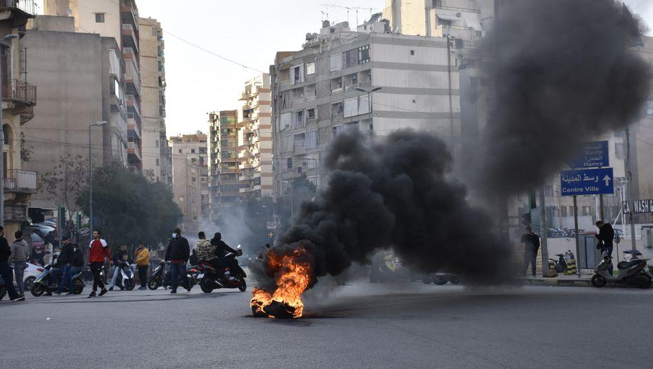 Protest gegen Strom-Unterbrechungen in Beirut im Februar