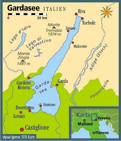 Gardasee: Der größte See Italiens gehört zu den drei Regionen Trentino, Venetien und Lombardei
