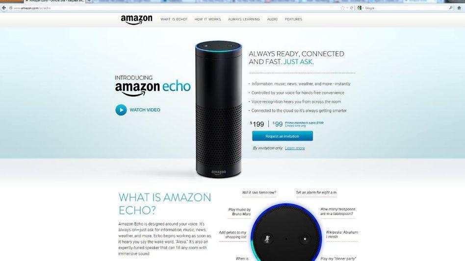 "Lauschende Säule: Amazons neuer Lautsprecher ""Echo"" (Screenshot)"