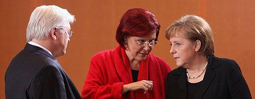 Steinmeier, Wieczorek-Zeul, Merkel (2007): Machtspiel in der Koalition?