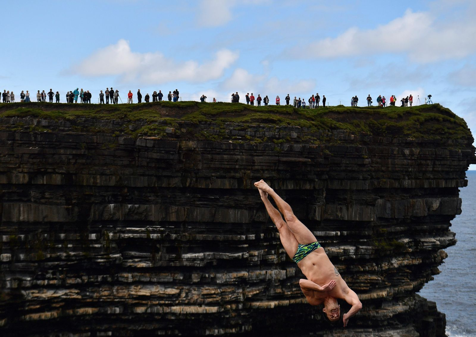 Cliff diving competition in Ireland