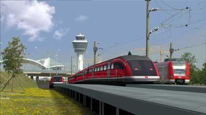 Münchner Angst- oder Wunschtraum: Der Transrapid vor dem Flughafen - in einer Computersimulation