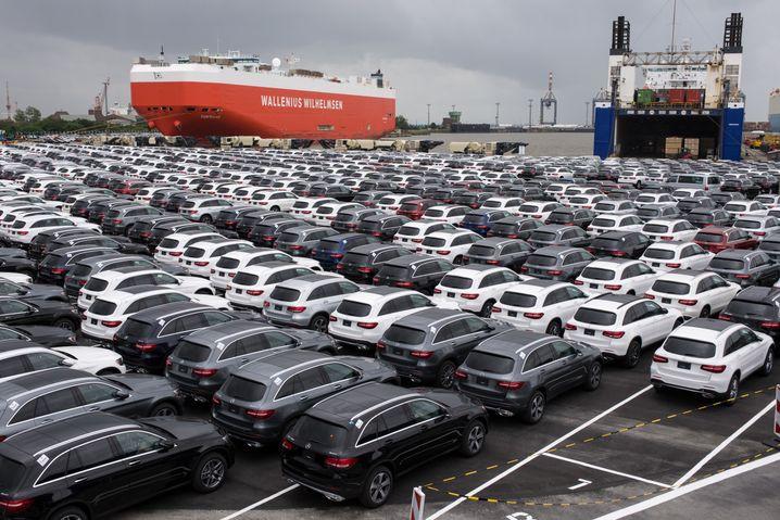 Deutsche Neuwagen bereit für den Export (Archivbild von 2017)