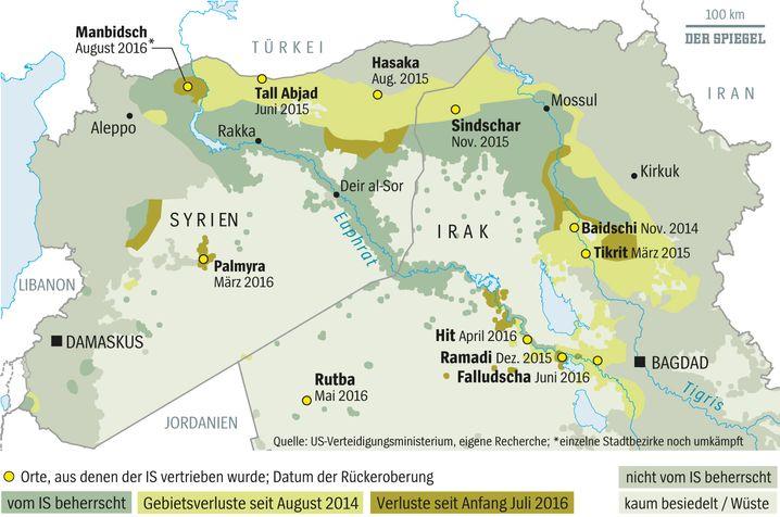 Verluste des IS im Irak und in Syrien