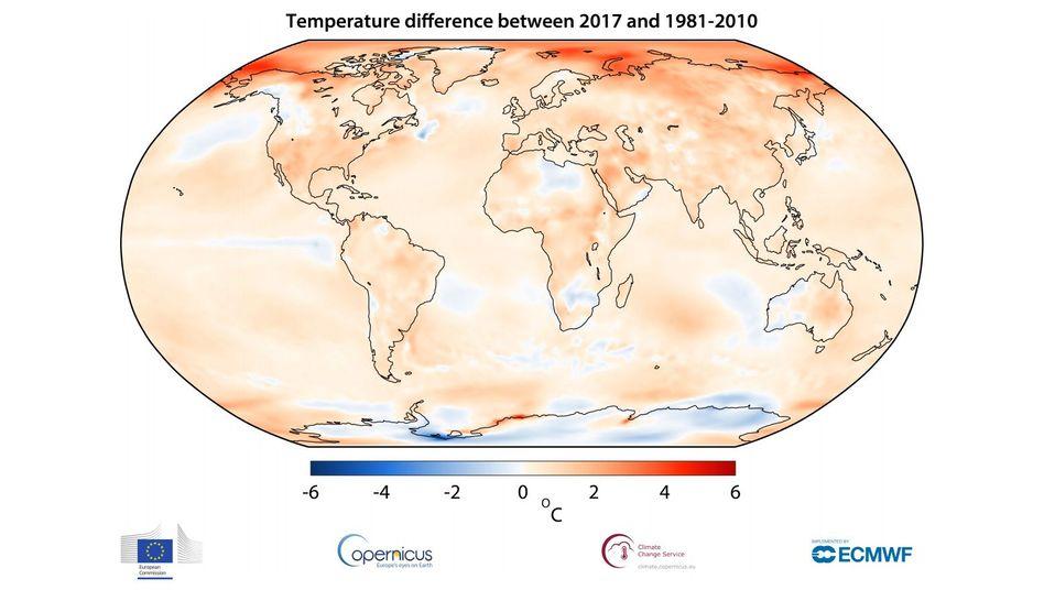 Temperaturveränderung von 2017 im Vergleich zum Durchschnitt zwischen 1981 bis 2010: Besonders die Arktis hat sich erwärmt (für die Legende auf das Bild klicken).