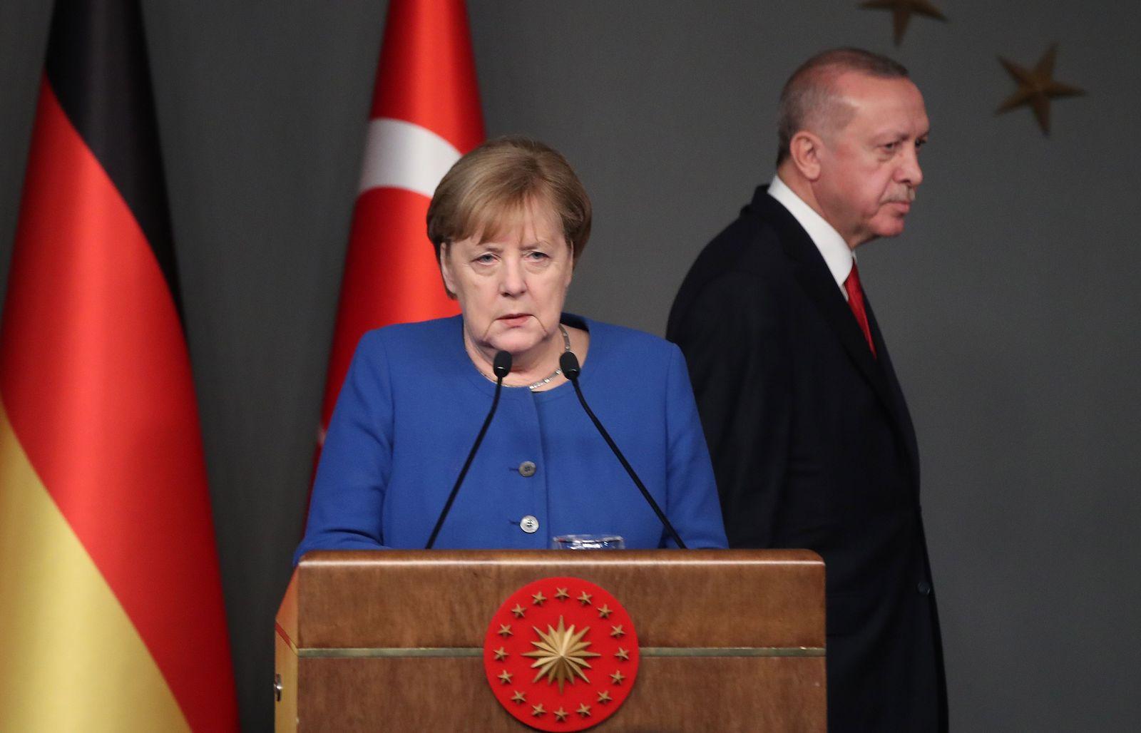 German Chancellor Angela Merkel visits Turkey, Istanbul - 24 Jan 2020
