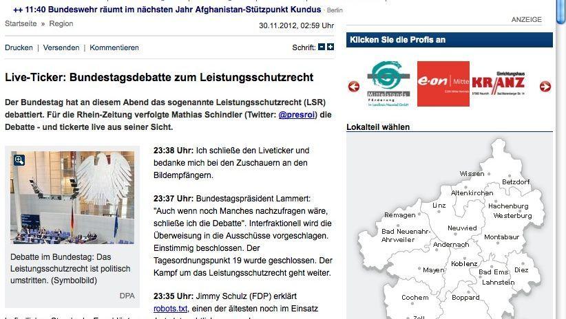 Live Ticker Rhein Zeitung