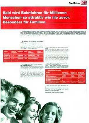 Platz 2 (8,42 Punkte auf der Skala bis 10): Und noch einmal die Deutsche Bahn. Eine Zeitungsannonce zeigte, dass die Bahn ihre eigenen Preise nicht kennt - das Unternehmen berechnete Rabatte falsch.