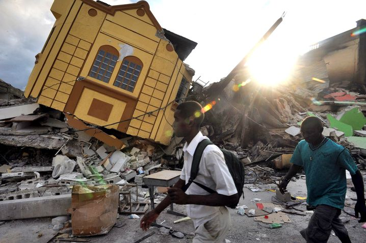 A devastated home after the 2010 earthquake in Haiti