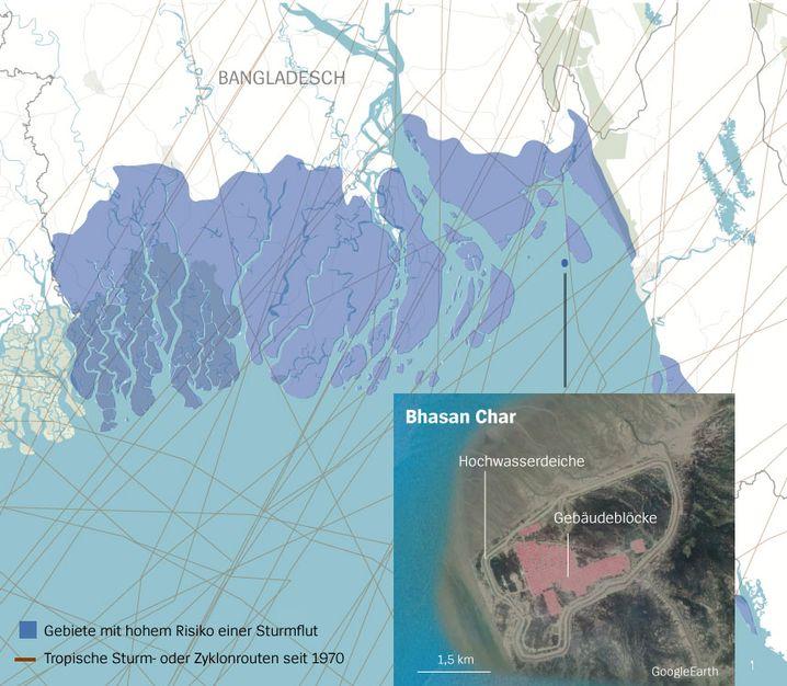 Karte Bhasan Char: Sturmrouten, Flutregionen und Gebäude