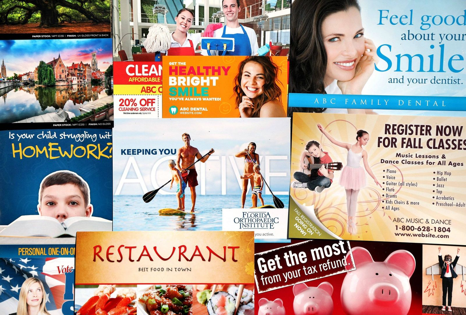 March 12, 2021, CLEARWATER, Florida, USA: These direct-mail postcard advertisements are used by PostcardMania to market
