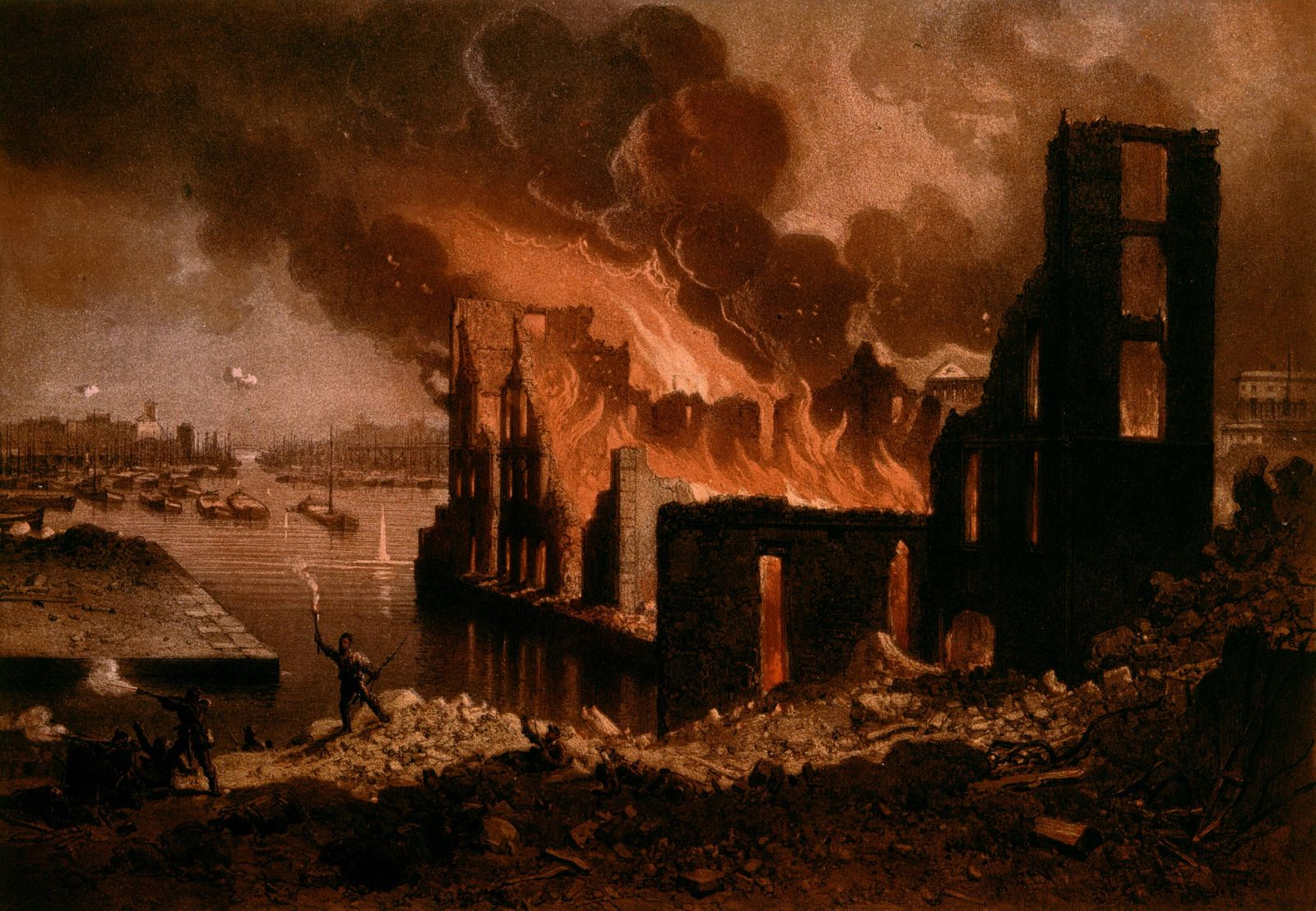 Anonymous painting Fire on May 27 1871 Anonymous painting 19th century Fire on May 27 1871 The