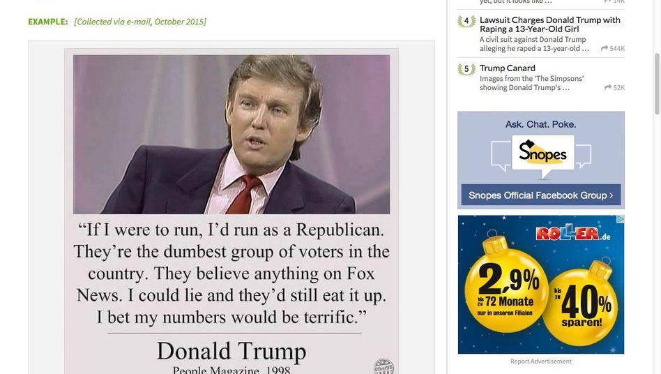 Screenshot mit dem angeblichen Trump-Zitat