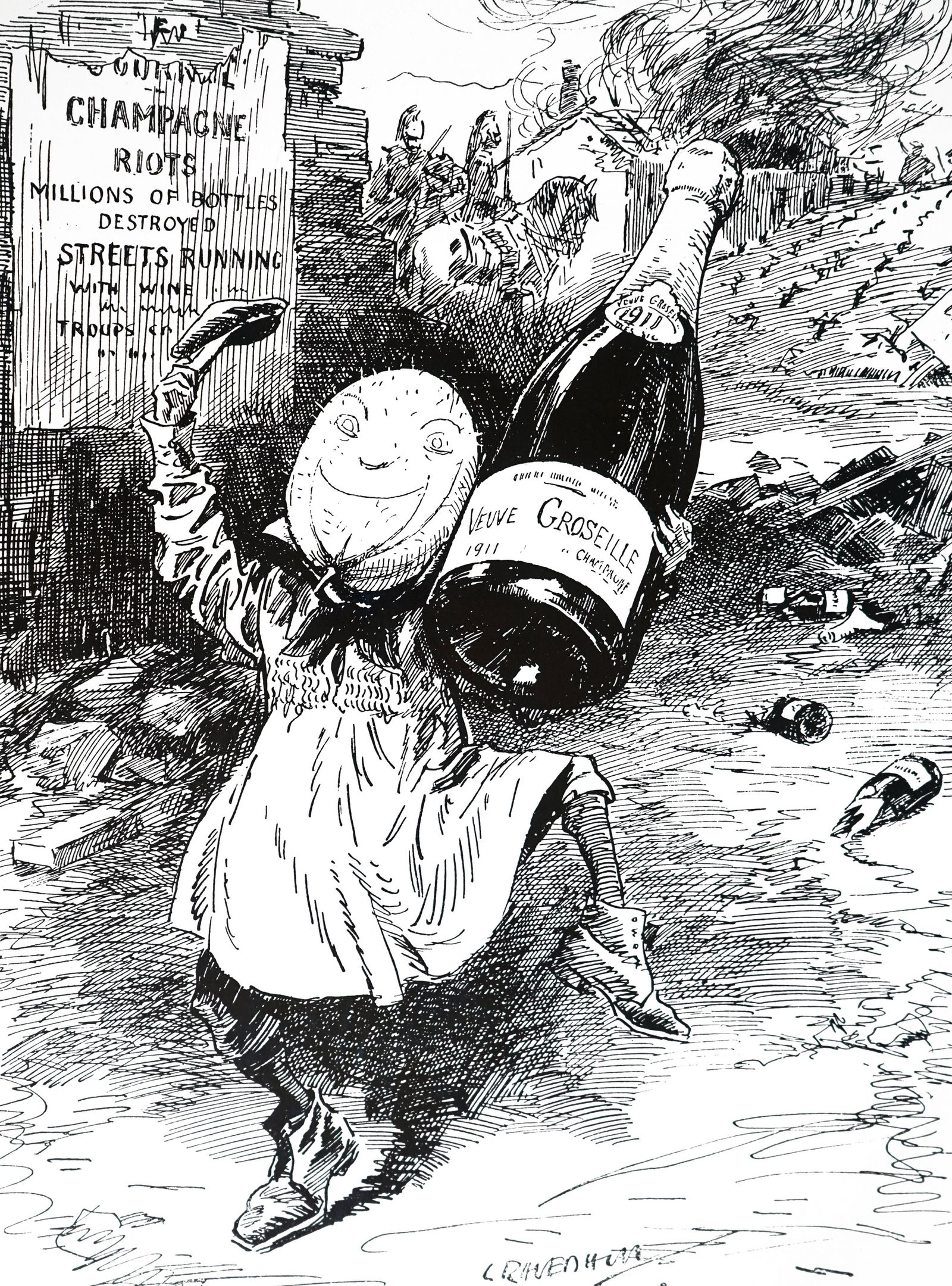 Cartoon depicting the riots in the French Champagne region The Champagne Riots of 1910 and 1911 res