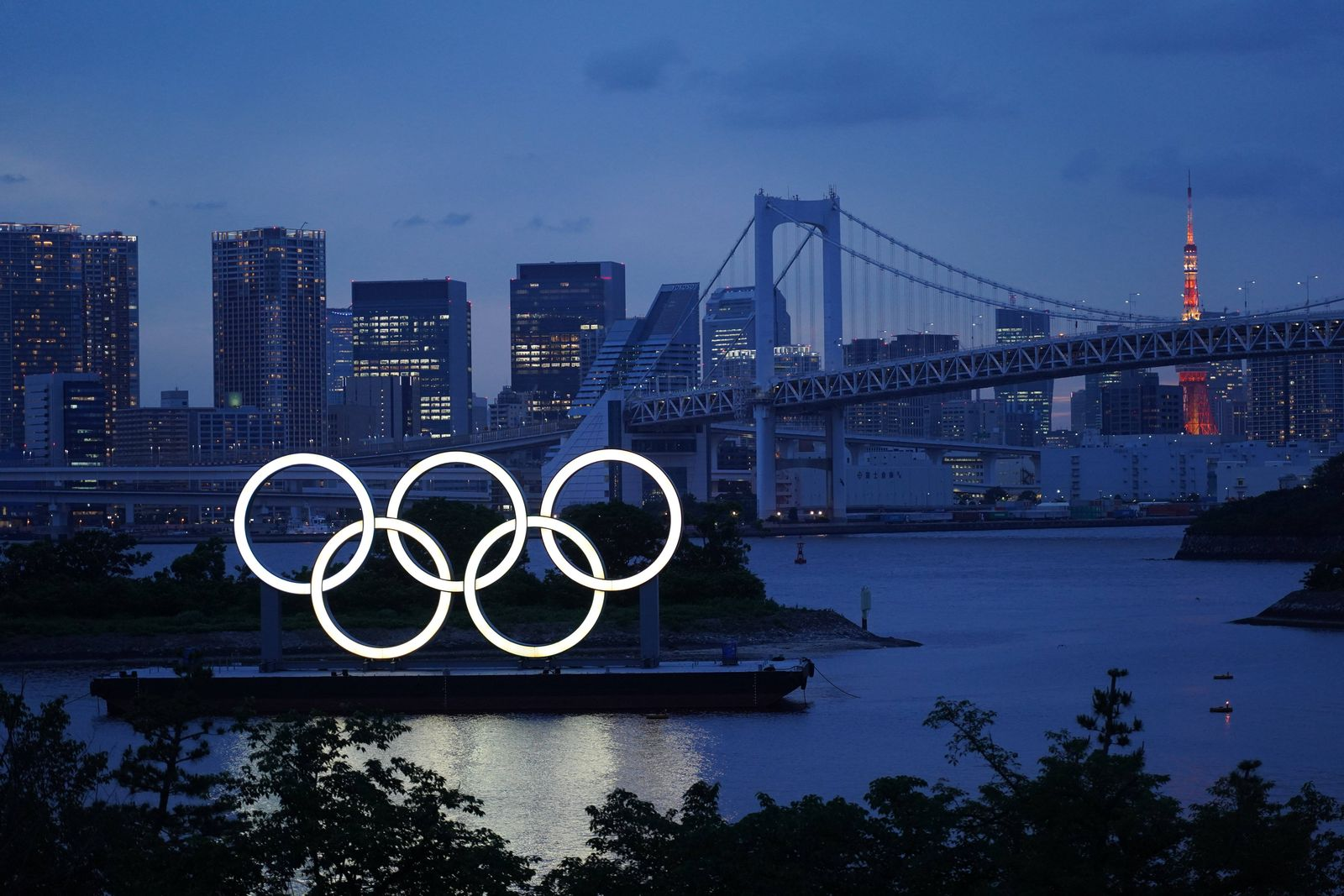 50 Days To Go For Tokyo Olympics Game The Olympic Rings displayed by the Odaiba Marine Park light up on the day marking